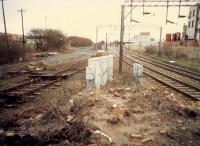 Knightswood South Junction looking south to Anniesland. The original line is to the left (just lifted, recently re-opened) and Glasgow City and District link to the right. Access by kind permission of British Rail.<br><br>[Ewan Crawford&nbsp;//1988]