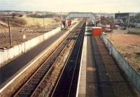 Cleland looking east. The line runs east to Edinburgh. To the left is the cutting for the line which ran north to Newhouse and Dewshill by Lanridge Junction.<br><br>[Ewan Crawford&nbsp;//1988]