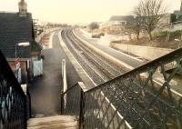 Looking east at Shotts from the now removed traditional footbridge.<br><br>[Ewan Crawford&nbsp;//1988]