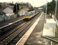 Westbound 477 at Hartwood on diverted E&G train.<br><br>[Ewan Crawford&nbsp;//1988]
