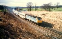 Eastbound 47 hauled train to the east of Hartwood on E&G diversion.<br><br>[Ewan Crawford&nbsp;//1988]