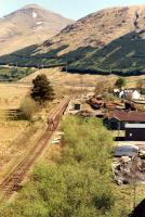 The timber depot and old station at Crianlarich Lower viewed from the West Highland Railway viaduct in 1990.<br><br>[Ewan Crawford&nbsp;//1990]
