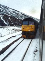 A northbound train passing a southbound train at Slochd.<br><br>[Ewan Crawford&nbsp;//]