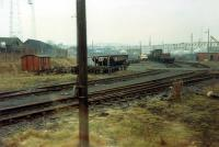 The back of Ayr MPD viewed from an eastbound train on the Newton Junction - Blackstone Junction alignment.<br><br>[Ewan Crawford 26/11/1988]