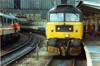 Arrival from the north at Carlisle. Brought by 47 as the WCML was closed.<br><br>[Ewan Crawford&nbsp;26/11/1988]