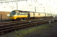 A southbound 125 takes the Newcastle line at Carlisle.<br><br>[Ewan Crawford 26/11/1988]