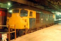 26 021 sleeps in the southbound bay platform on the west side of Perth station.<br><br>[Ewan Crawford&nbsp;02/01/1989]