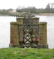 Remains of Alloa swing bridge in April 2006 looking across from the abutment on the north bank of the Forth towards Throsk.<br><br>[John Furnevel&nbsp;27/04/2006]