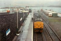 Ready and waiting for customers for Inverness at Kyle. Skye can be seen on the far side of the Kyle.<br><br>[Ewan Crawford 03/01/1989]
