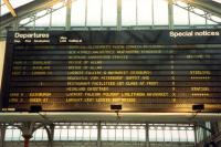 Stirling departure board in the circulating area in 1988.<br><br>[Ewan Crawford&nbsp;//1988]