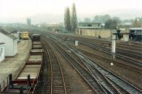 View looking south from St Leonards Bridge. The signalbox stands where the NB locomotive shed stood.<br><br>[Ewan Crawford&nbsp;//1988]