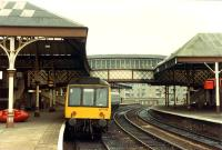 The Dundee platforms at Perth. The central road has now been taken out of use.<br><br>[Ewan Crawford&nbsp;//1988]
