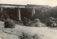 Larkhall Viaduct (highest in Scotland). 80003 ex Strathaven. Railscot note: Broomhill Viaduct is often referred to as Larkhall Viaduct.<br><br>[G H Robin collection by courtesy of the Mitchell Library, Glasgow&nbsp;23/07/1953]
