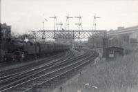 Under the Muirhouse/Strathbungo Junctions gantry (last week 05/08/1952 of lower quadrant arms). 2.6.4T 42128 on inner circle train.<br><br>[G H Robin collection by courtesy of the Mitchell Library, Glasgow&nbsp;05/08/1952]