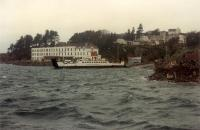 Car ferry at Kyle of Lochalsh. The hotel behind the ferry was the station hotel.<br><br>[Ewan Crawford&nbsp;03/01/1989]