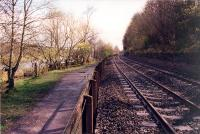 Looking east at the former Border Counties Junction. The base of the signalbox can be seen in the distance. This box controlled both the Border Counties and Allendale branches.<br><br>[Ewan Crawford&nbsp;/11/1997]