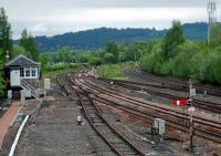 Looking north at Stirling North box. Note the buffers on the former Dunfermline route. The track has been lifted for replacement.<br><br>[Ewan Crawford&nbsp;12/05/2006]