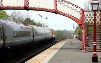 A class 57 diesel locomotive drags a diverted Euston - Glasgow Pendolino service north through Appleby station on the Settle and Carlisle line in May 2006.<br><br>[John Furnevel&nbsp;06/05/2006]