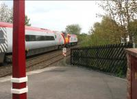 A diverted Pendolino being dragged south through Lazonby station on the Settle and Carlisle line by a Virgin class 57 <I>Thunderbird</I> locomotive on Saturday 6 May 2006.<br><br>[John Furnevel&nbsp;06/05/2006]