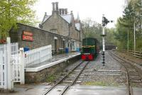 Looking into Alston station, South Tynedale Railway, from the level crossing in May 2006. No 4 is alongside the platform. [See image 53448]<br><br>[John Furnevel&nbsp;06/05/2006]