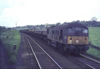 A Derby Diesel with a down freight at Busby Junction on 16 May 1964. Photographed from an East Kilbride train crossing in front of the freight.<br><br>[John Robin 16/05/1964]