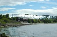 Westbound steam engine for the summer only Jacobite train from Fort William to Mallaig. Approaching Cardross.<br><br>[Ewan Crawford&nbsp;25/05/2006]