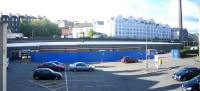 Panorama showing the situation at Haymarket station car park on 28 May 2006 with preparations in hand for construction of the new bay platform 0 behind the blue barrier.<br><br>[John Furnevel&nbsp;28/05/2006]