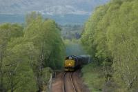 Southbound sleeper approaching Fersit.<br><br>[Ewan Crawford&nbsp;28/05/2006]