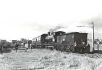 The SLS Glasgow South Rail Tour stands at the old Airdrie (Caledonian) station on 9 June 1962 with McIntosh 3F 0-6-0 no 57581 in charge. <br><br>[G H Robin collection by courtesy of the Mitchell Library, Glasgow&nbsp;09/06/1962]