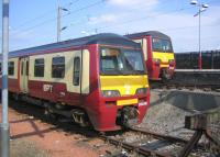 Emus stabled in the siding and bay platform at Airdrie on Sunday 11 June 2006.<br><br>[John Furnevel&nbsp;11/06/2006]