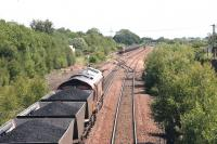 <I>Fancy meeting you here...</I> full and empty coal trains on the Hunterston - Longannet supply route meet at Halbeath sidings, Dunfermline on 13 June 2006.<br><br>[John Furnevel&nbsp;13/06/2006]