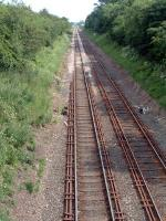 Unusual track fastenings looking south at Kirkby Thore in July 2006.<br><br>[Ewan Crawford&nbsp;03/07/2006]