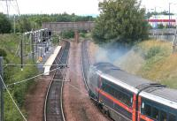 A diverted HST about to run past Brunstane station on the curve round from Portobello on the single line section of the sub on Sunday 9 July 2006.<br><br>[John Furnevel&nbsp;09/07/2006]