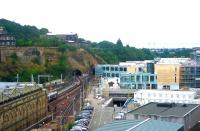 The Waverley Valley development, with the new Edinburgh Council HQ building starting to add its own <I>unique contribution</I> to this part of the Old Town. View east from the North Bridge on 8 July 2006.<br><br>[John Furnevel&nbsp;08/07/2006]