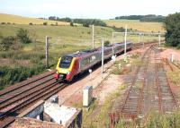 A southbound Voyager passing the site of Grantshouse station on the ECML in August 2007.<br><br>[John Furnevel&nbsp;22/08/2007]
