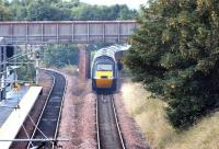 A diverted GNER HST passes Brunstane on the Edinburgh sub and takes the line to Niddrie West Junction on 9 July 2006 during closure of the main Glasgow - Edinburgh line at Haymarket.<br><br>[John Furnevel&nbsp;09/07/2006]