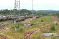 Perth New Yard in July 2006, now used mainly for wagon storage. The yard control tower still stands in the left background and the old turntable can be seen in the centre.<br><br>[John Furnevel&nbsp;03/07/2006]