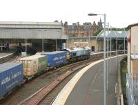 Grangemouth - Aberdeen WHM containers passing through Perth station in June 2006.<br><br>[John Furnevel&nbsp;15/06/2006]