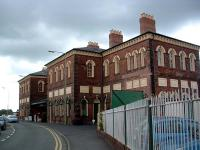 The imposing Oswestry station building and Cambrian Railways offices. View looks north in July 2006.<br><br>[Ewan Crawford&nbsp;10/07/2006]